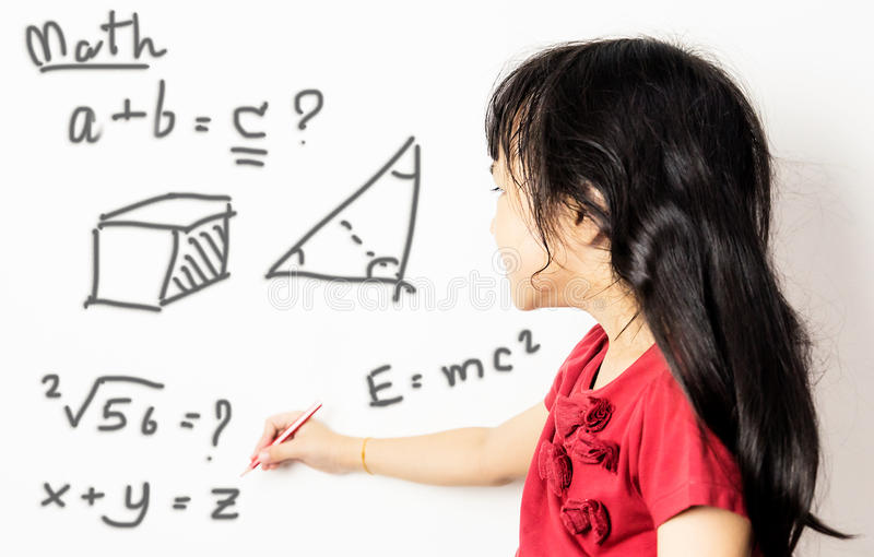 Asian Girl Kid Is Confusing With Maths. Stock Photo - Image of ...