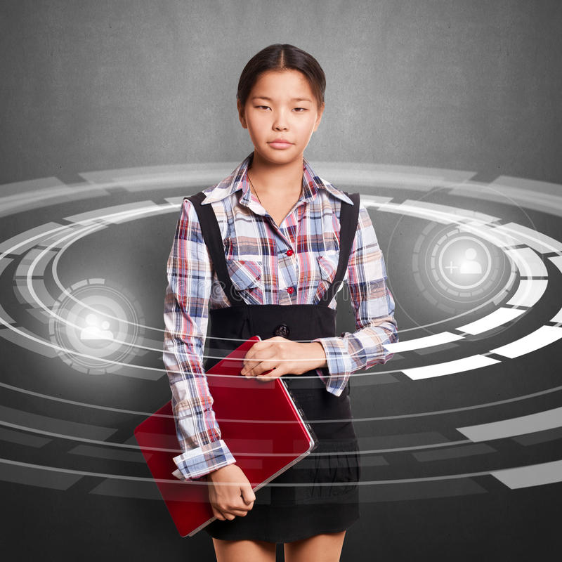 Download Asian Girl With Laptop stock illustration. Image of asian - 27671811