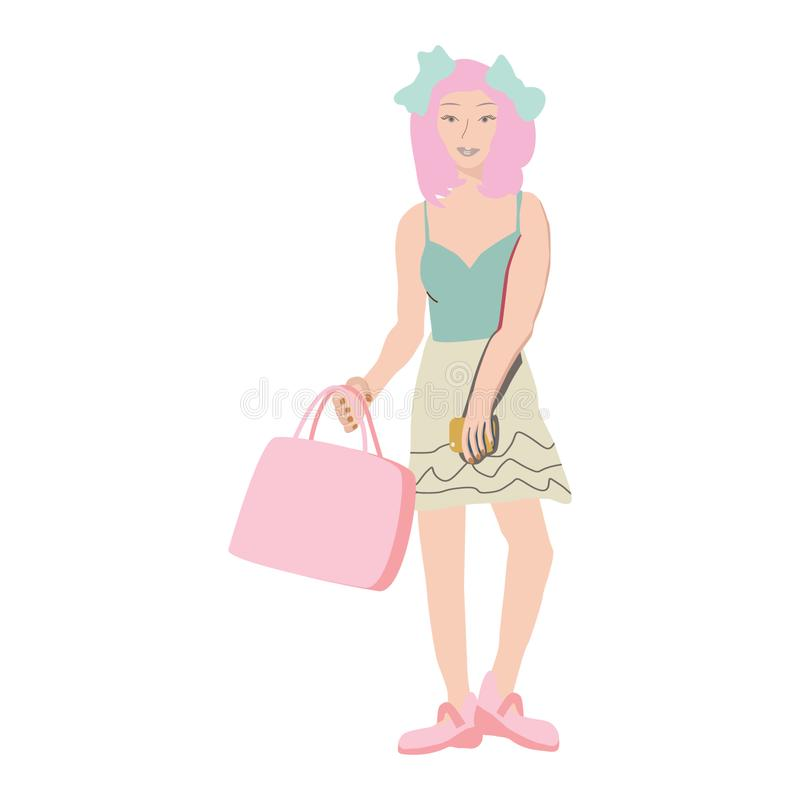 Asian girl with pink hair carrying shopping bags and smartphone stock illustration