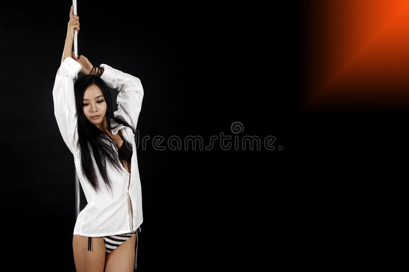 Asian girl with pole royalty free stock images