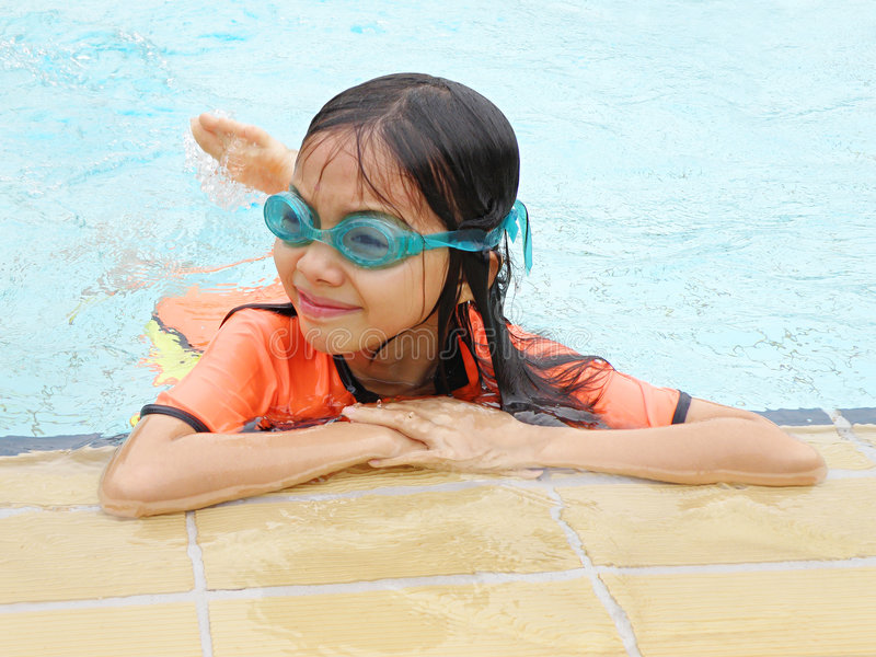 Download Asian girl in pool stock photo. Image of having, learning - 7201516