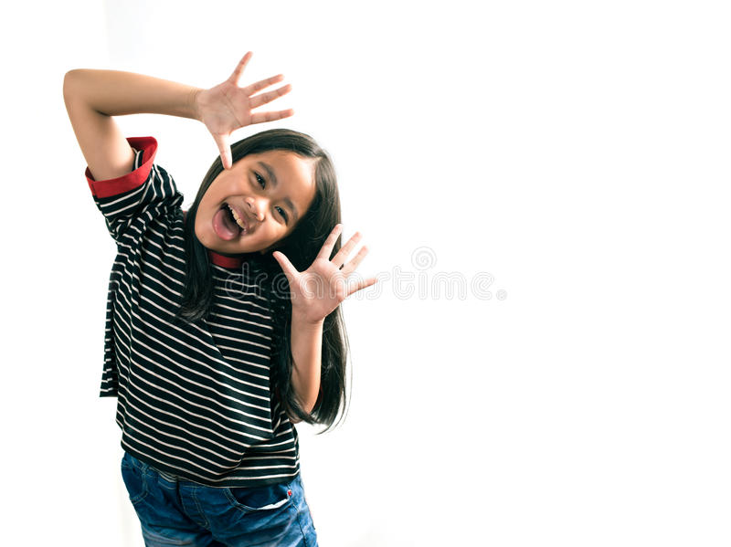 Asian girl poses for a picture isolated on white stock photography