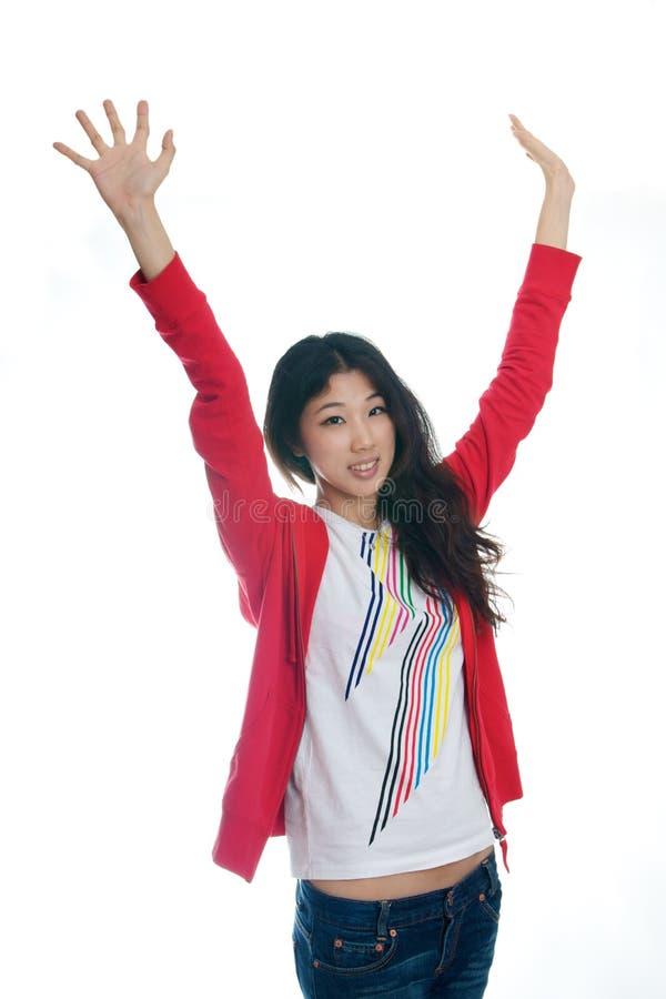 Asian Girl Raise Arms Stock Photos
