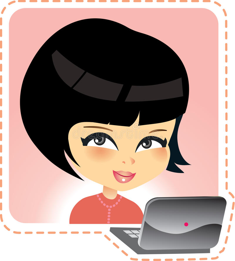 Download Young girl with laptop stock vector. Illustration of cute - 10077776