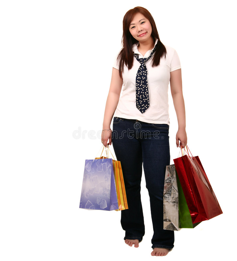 Asian Girl Shopping stock photo