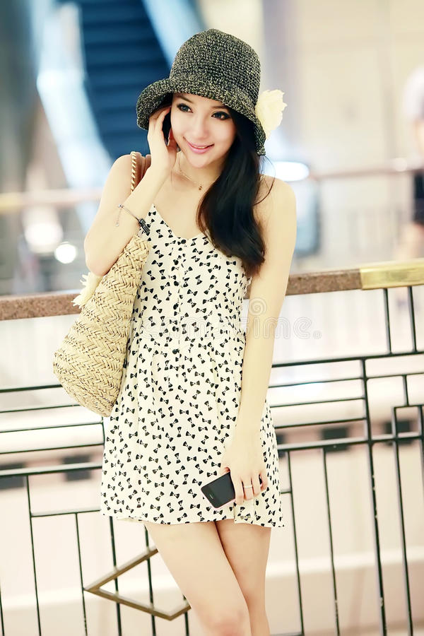 Asian girl in shopping mall stock photo