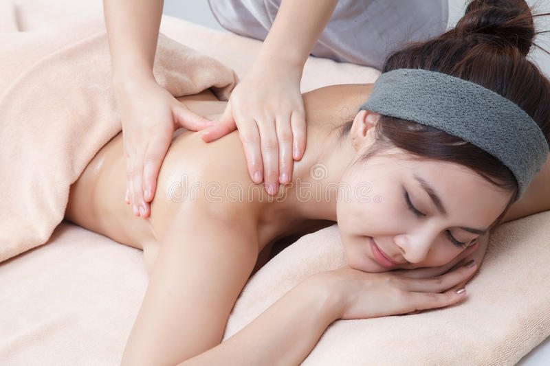 Asian girl in spa royalty free stock photography
