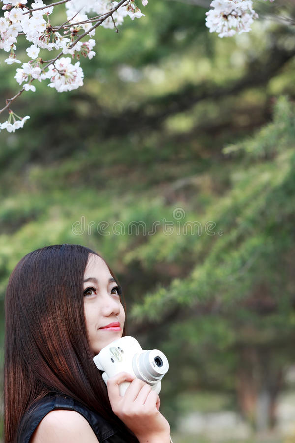 Download Asian girl in spring stock photo. Image of garlands, look - 30518834