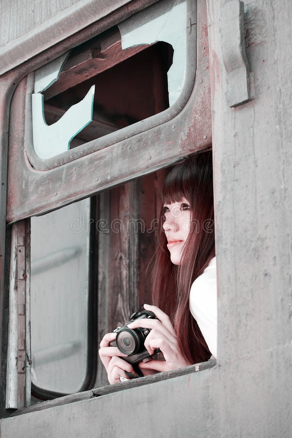 Asian girl on train stock photo