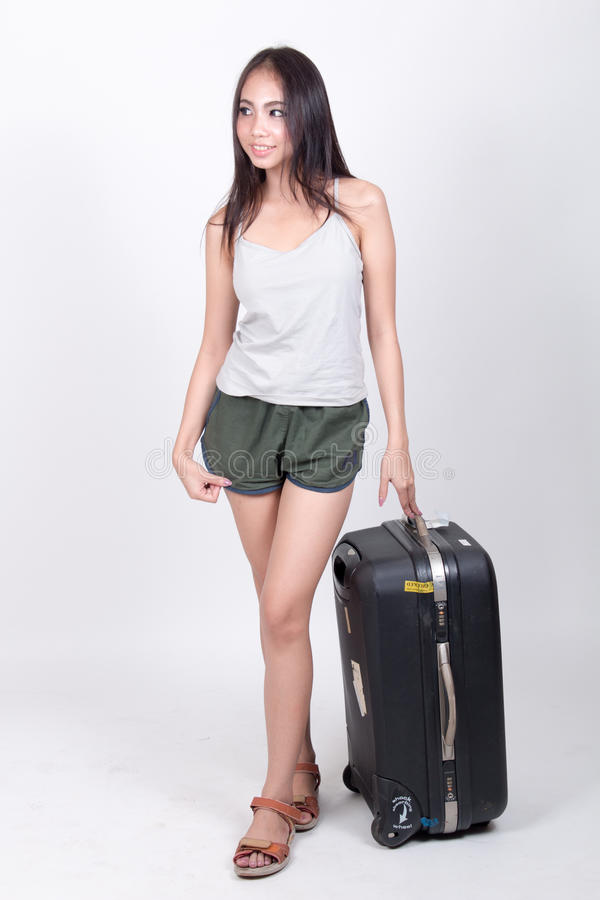 Asian girl in travel concept royalty free stock photography