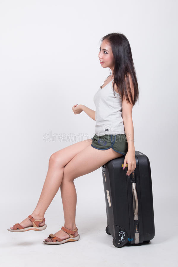 Asian girl in travel concept royalty free stock images