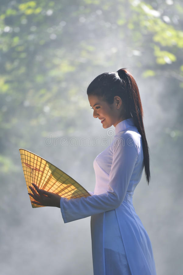 Asian girl vietnamese style royalty free stock images
