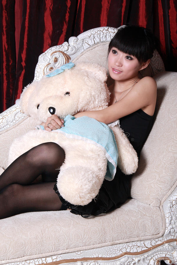 Download Asian girl watching TV stock photo. Image of girl, glamorous - 9376266