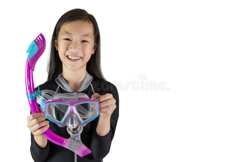Asian girl wearing a diving mask isolated on white background; s royalty free stock photos