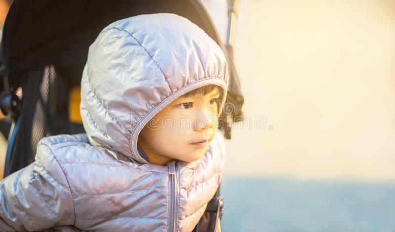 Asian Girl wearing a winter clothes stock photo