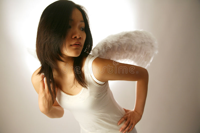 Asian girl with wings stock photo