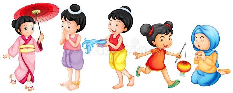 Asian girls royalty free illustration