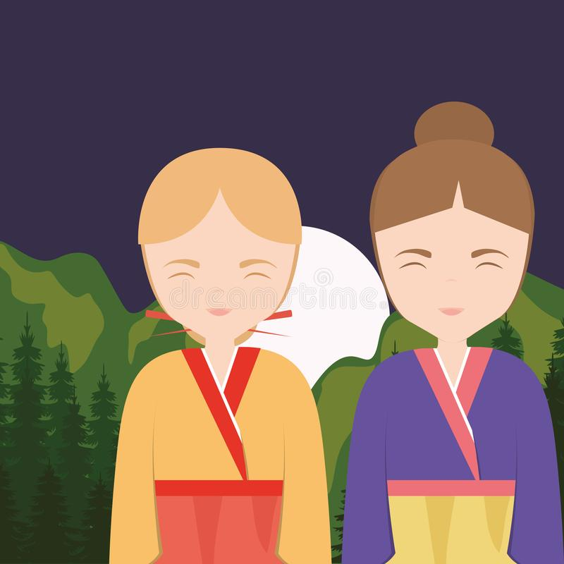 Asian girls design. Asian girls wearing a traditional clothes over landscape background, colorful design. vector illustration vector illustration