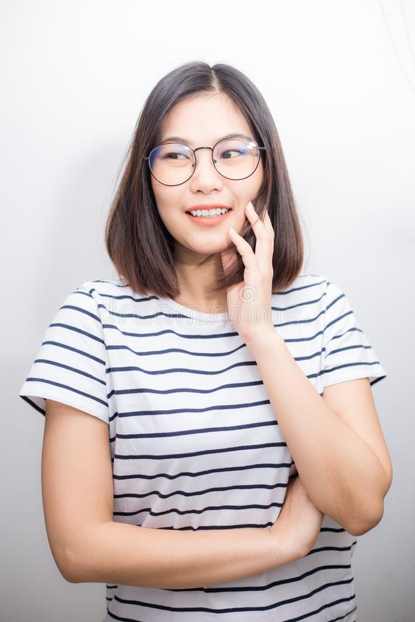Asian glasses women smiling on white background stock images