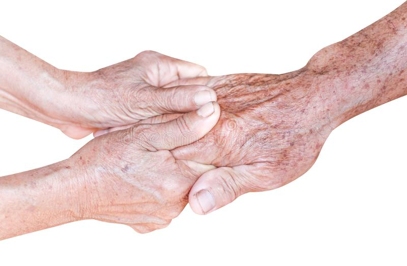 Asian grandma holding  grandpa hands , care and support in family concept isolated on white background with clipping path royalty free stock photo