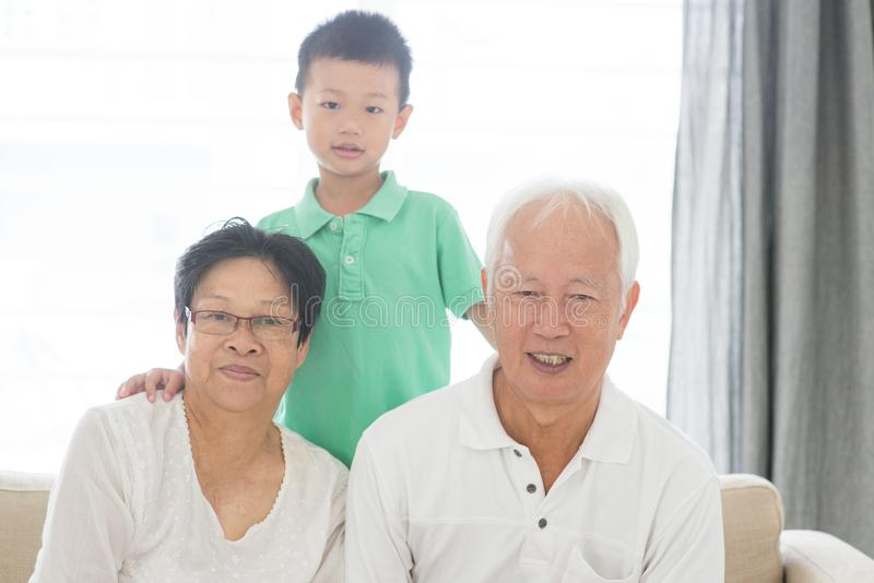 Asian grandparents and grandson stock photos