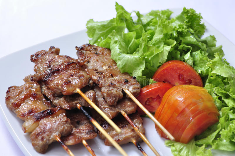 Asian grilled pork, Thai food stock photos