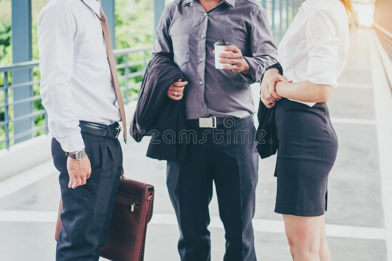 Asian Group of Business people talking in outdoor after work stock photo