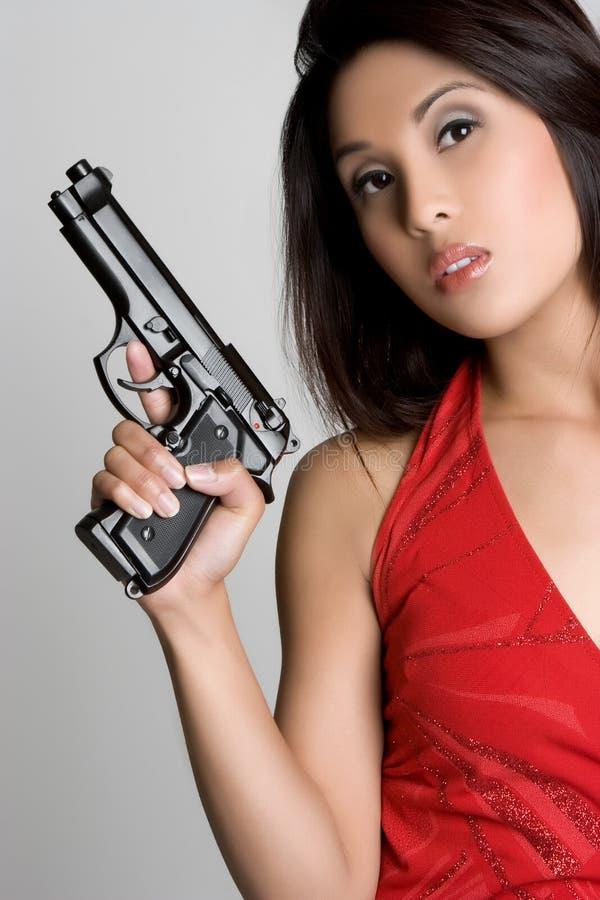 Asian Gun Woman stock photography