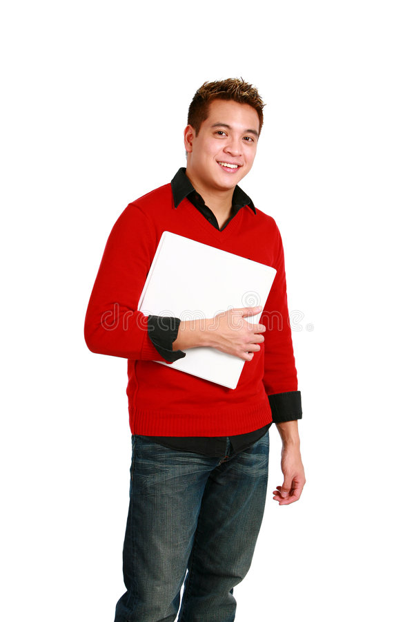 Asian guy with binder royalty free stock photography