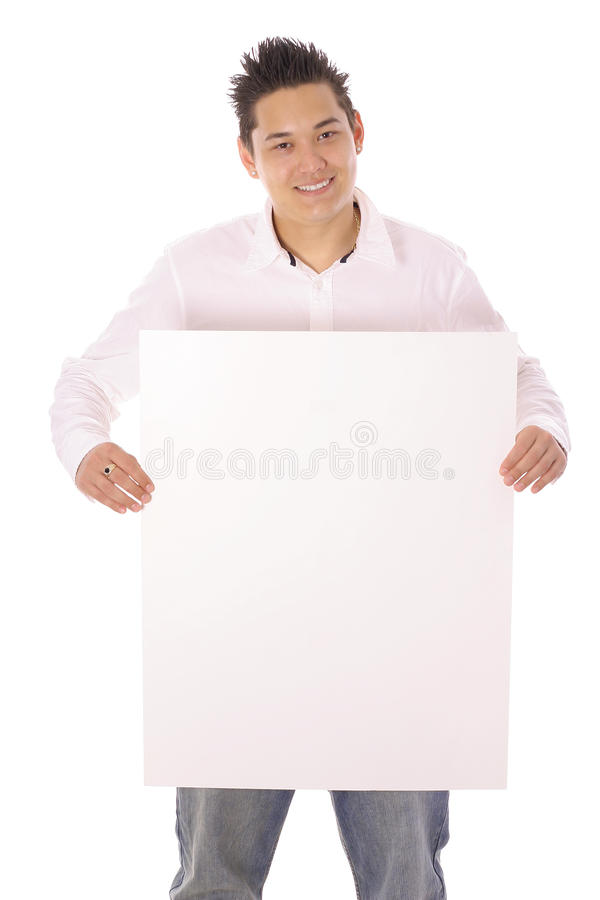 Asian Guy With Blank Sign Vertical Stock Photo