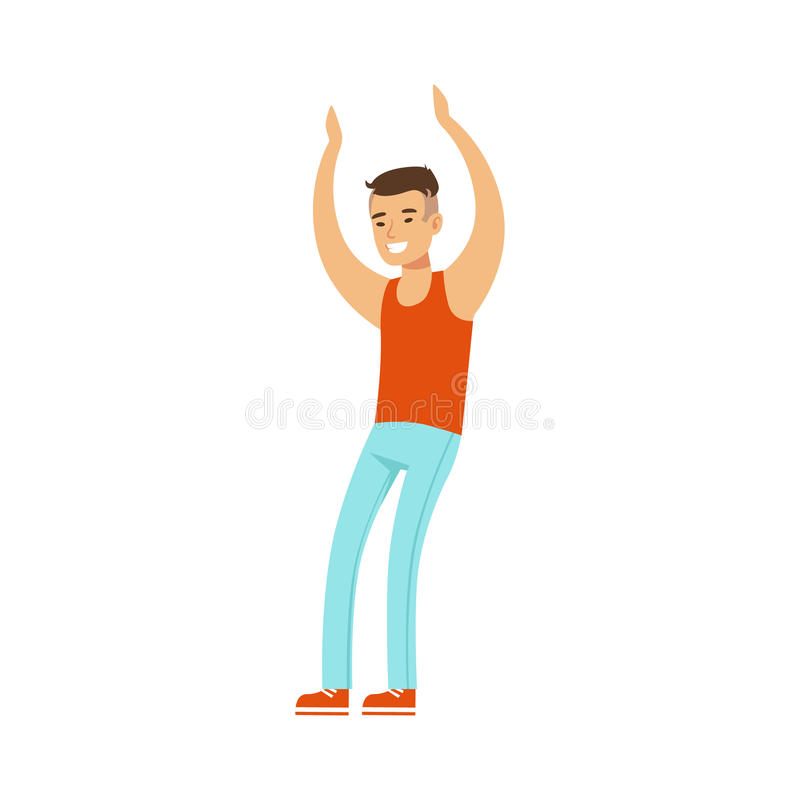 Asian Guy In Top And Jeans Dancing On Dancefloor, Part Of People At The Night Club Series Of Vector Illustrations vector illustration