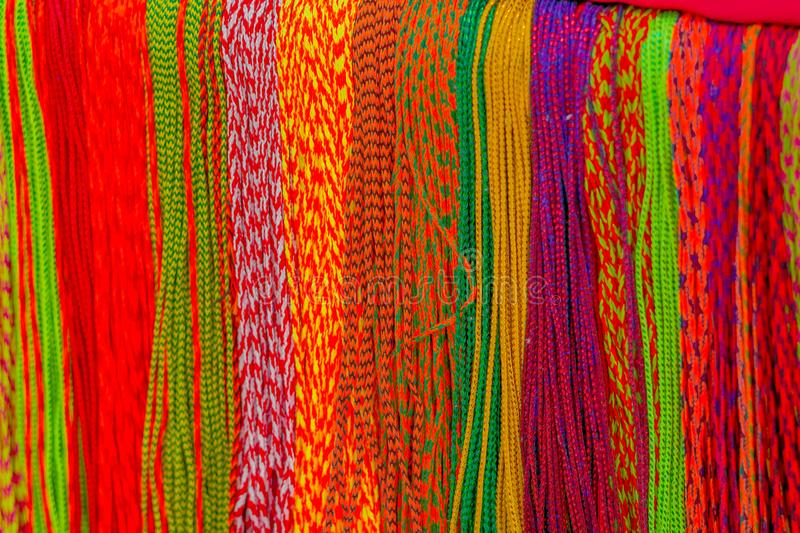 Asian hand made fabric made with local craftsman and being sold at the market in Kathmandu, Nepal royalty free stock images
