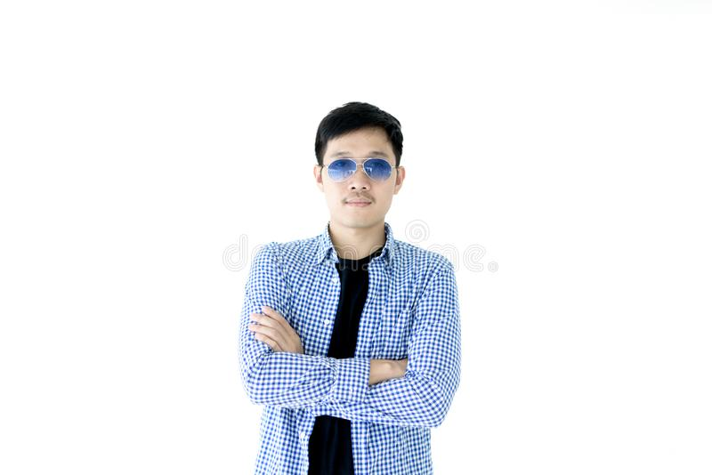 Asian handsome man with blue scott shirt, black shirt and blue e royalty free stock image