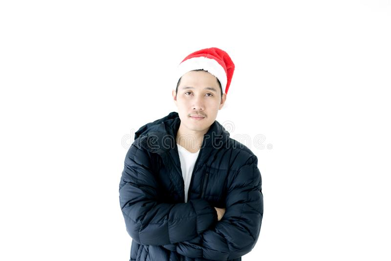 Asian handsome man with Christmas holiday theme isolated on whit royalty free stock photos