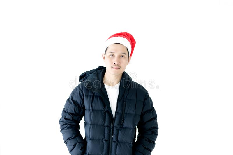 Asian handsome man with Christmas holiday theme isolated on whit royalty free stock images