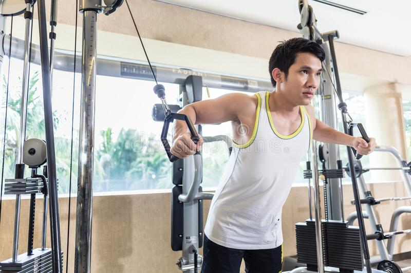 Asian handsome man exercising cable crossover for chest muscles. Low-angle view portrait of an Asian handsome man looking down with concentration while stock photo