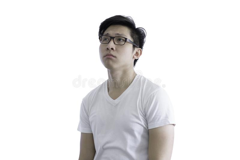 Asian handsome man with white shirt and orange eyeglasses has di royalty free stock image