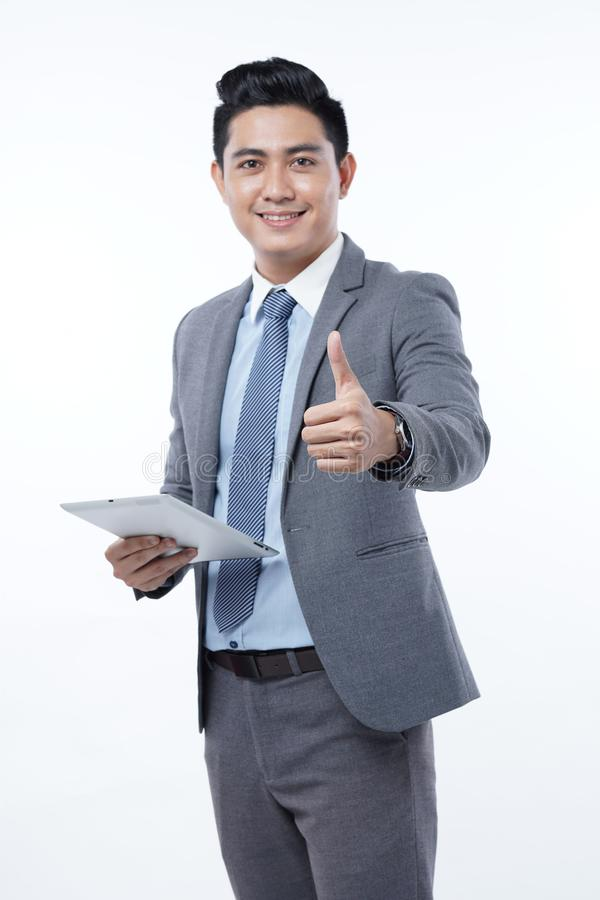 Asian Handsome Young Business Man Isolated on White Background stock image