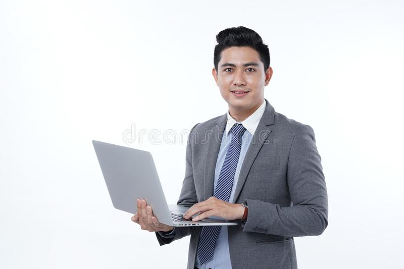 Asian Handsome Young Business Man Isolated on White Background stock photo