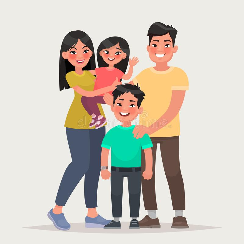 Free Asian Happy Family. Dad, Mom, Daughter And Son Together. Vector Royalty Free Stock Image - 126308156