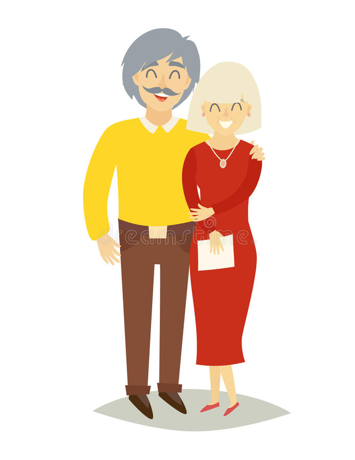 Asian happy family. Old asian man and old asian woman in love royalty free illustration