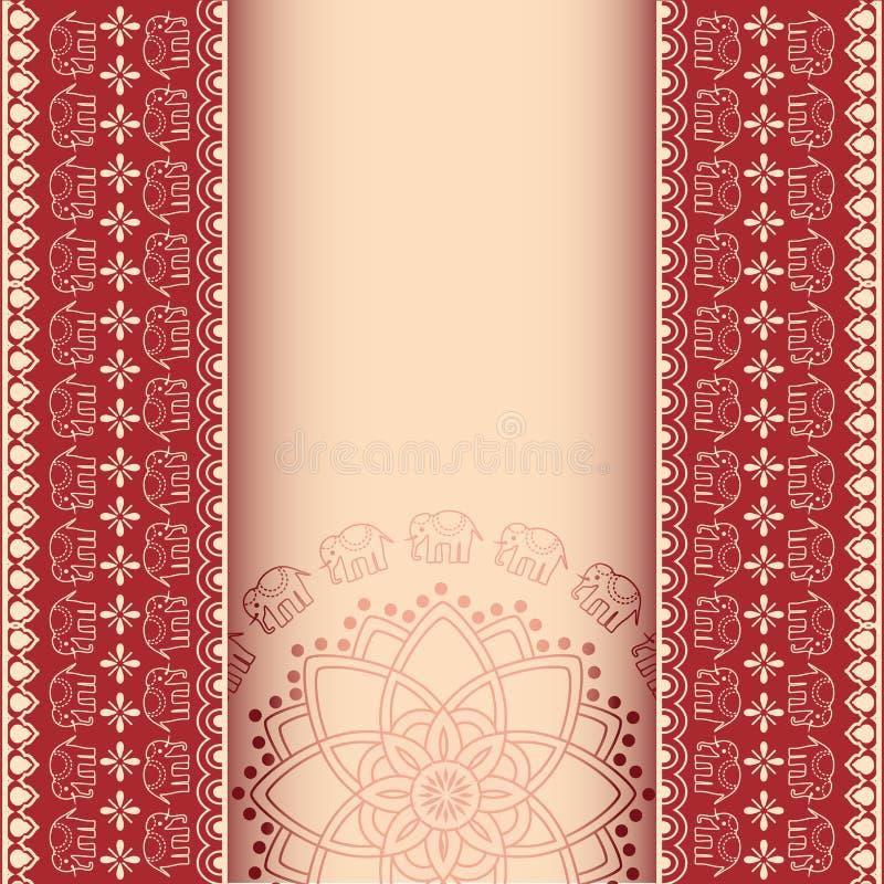Asian Henna Elephants Burgundy And Cream Border Design