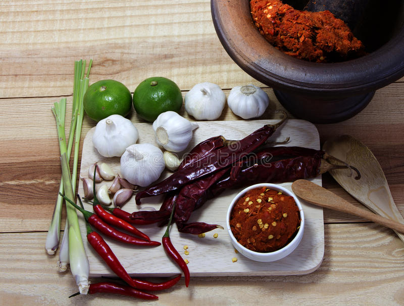 Asian herb and spicy with Chili, garlic,curry paste, and lime on. Wooden Chopping board stock photo