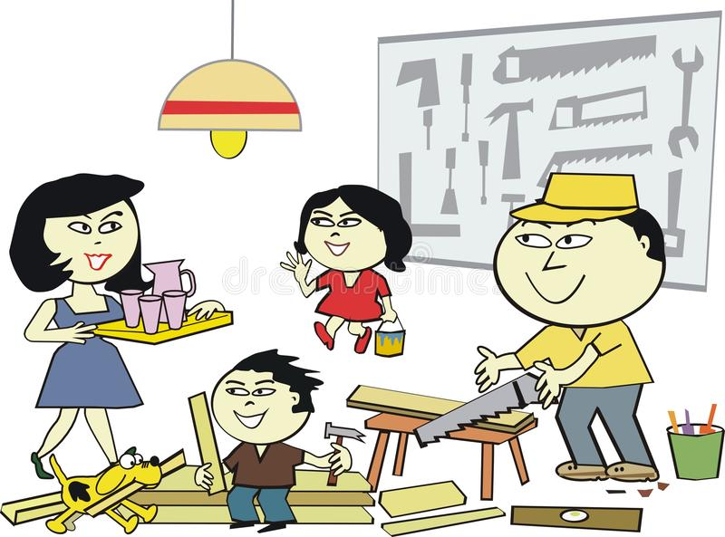 Asian home workshop cartoon. Cartoon of happy Asian family enjoying carpentry hobby in their home workshop stock illustration