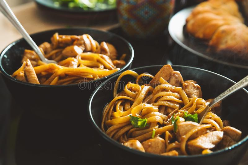 Asian hot noodle. chinese japanese korean traditional savory food royalty free stock photo