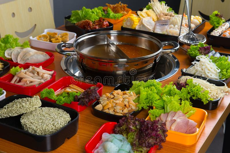 Asian hot pot. In restaurant royalty free stock photography