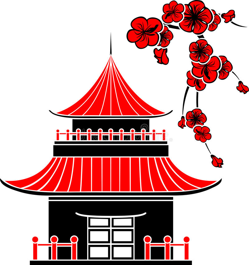 Asian house. And cherry blossoms, stencil stock illustration