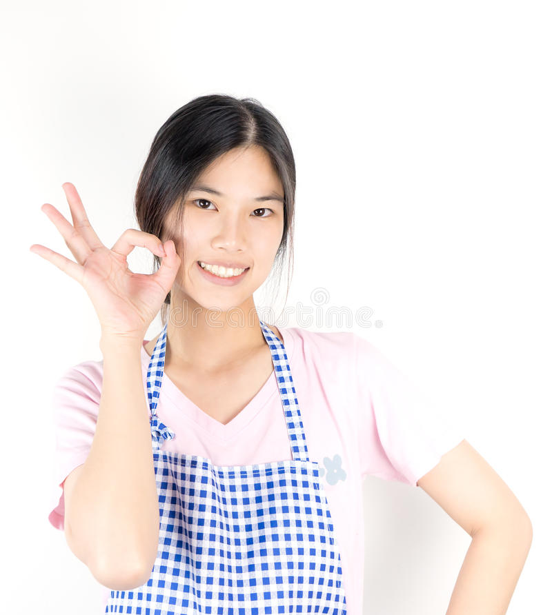 Asian housewife is ok and ready for work stock image