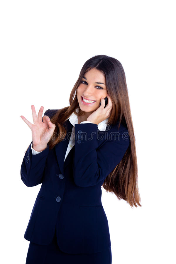 Asian indian business woman talking mobile phone royalty free stock photos