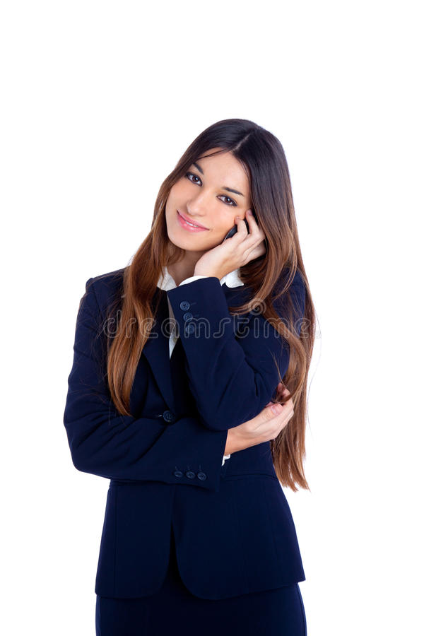 Asian indian business woman talking mobile phone stock photography
